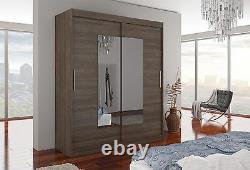 Modern design Wardrobe ROSETTE mirror 2 sliding door bedroom 180 cm LED option