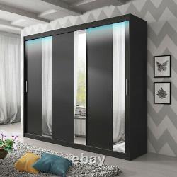 NEW Big Wardrobe Shelves 5 Colours Sliding Door Mirror LED Rail Closet 250 cm