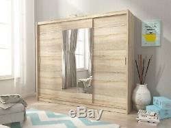 NEW Wardrobe'VICKY' Oak effect with Modern Mirror Sliding Doors LED LIGHTS