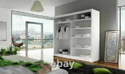 New Bedroom Wardrobe AMIGO 1 Sliding Doors Mirror Hanging Rail Shelves 180 cm