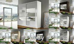 New Bedroom Wardrobe BRAVA 3 Sliding Doors Mirror Hanging Rail Shelves 180 cm