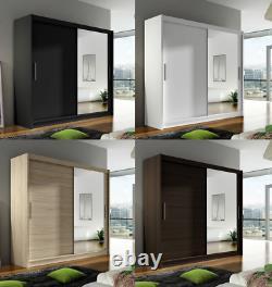 New Bedroom Wardrobe BRAVA 6 Sliding Doors Mirror Hanging Rail Shelves 180 cm