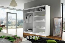 New Bedroom Wardrobe BRAVA 7 Sliding Doors Mirror Hanging Rail Shelves 180 cm