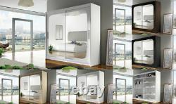 New Bedroom Wardrobe BRAVA 8 Sliding Doors Mirror Hanging Rail Shelves 180 cm