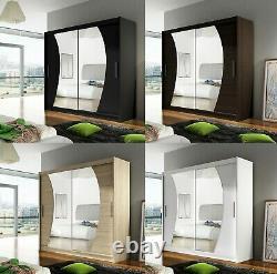 New Bedroom Wardrobe BRAVA 9 Sliding Doors Mirror Hanging Rail Shelves 180 cm