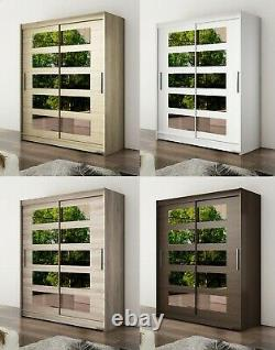 New Modern Bedroom Wardrobe WENDY 5 Mirror Sliding Doors Hanging Rail Shelves