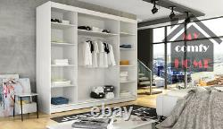 New Wardrobe NOTSA 4 Sliding Doors Mirror Shelves Hanging Rail width 250 cm