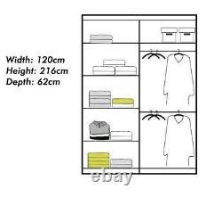 Nicole Modern Bedroom Furniture Double Sliding Doors Wardrobe Available 4 Sizes