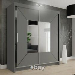 Nicole Sliding Modern Bedroom Double Door Wardrobe GREY 2 Sizes with Led Light