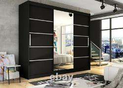 Notsa 6 3 Sliding Door Wardrobe With Mirror, Hanging Rail And Shelves, Huge