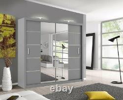 Oslo Modern Mirror sliding door wardrobe with LED Width 180cm