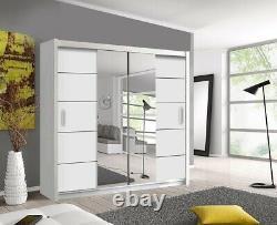 Oslo Modern White Mirror sliding door wardrobe with LED