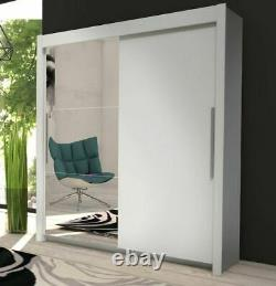 Oxford Matt White Mirrored Sliding Door Wardrobe Cupboard Bedroom Furniture