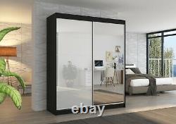 Perfect interior 2 sliding door wardrobe FALCON 180 W mirrored FREE DELIVERY