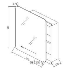 RAK Slide Door Rectangular Bathroom Mirror Stainless Steel Cabinet 600 x 340mm
