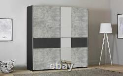 Rauch Korbach Metallic and Stone Grey 2 Door Sliding Wardrobe with Mirror -218cm