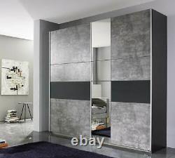 Rauch'Korbach' Sliding Door Wardrobe, Stone & Anth. German Bedroom Furniture