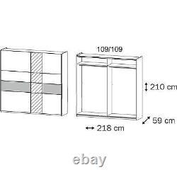 Rauch'Korbach' Sliding Door Wardrobe, White & Oak. German Bedroom Furniture