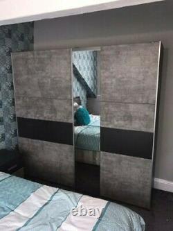 Rauch Korbach White Grey 2 Door Sliding Wardrobe with Mirror 218cm 261cm