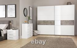 Rauch Korbach White and Stone Grey 2 Door Sliding Wardrobe with Mirror 218cm