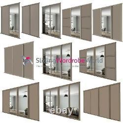 SHAKER Stone Grey & Mirror SpacePro Sliding Wardrobe Door Kits (All sizes)