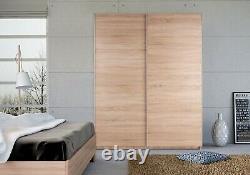 Seattle 2 Door Oak Sliding Wardrobes HIGH GLOSS & MIRRORED PANELS 1.5M Wide