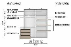 Shetland oak CLEO 32 bedroom set 180cm with sliding doors and mirror