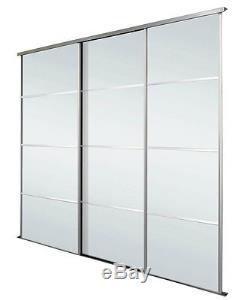 Silver Frame 4 Panel Mirror Sliding Wardrobe Doors Kit Free Delivery 5 Sizes