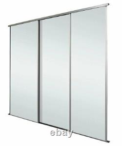 Silver Frame with Mirror Sliding Wardrobe Doors Kit Free Delivery 5 Kit Size
