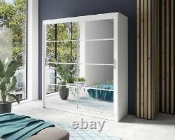Sliding Door Bedroom Mirror Wardrobe DAKO 1 Optional LED White, Grey, Black