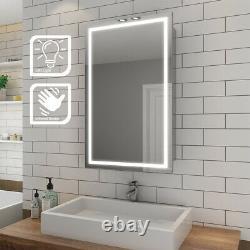 Sliding Door LED Light up Bathroom Mirror Cabinet Shelf Wall Hanging Sensor