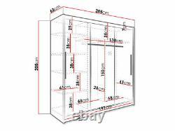 Sliding Door Wardrobe 205cm Mirrored White New with Hanging Rail Shelves ARIS I