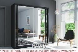 Sliding Door Wardrobe Full Mirror 4 Colours 6 Sizes