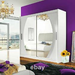 Sliding Doors Wardrobe 4 Colours Mirror Hanging Rail Shelves New Closet 180 cm