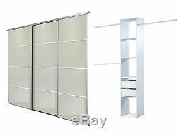 Sliding Wardrobe Doors (4 pane Mirror x 3) & Storage. Up to 2692mm (8ft 10ins)