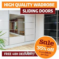 Sliding Wardrobe Doors Solid & Mirrored 7colours High Gloss Finish, Track & Rail