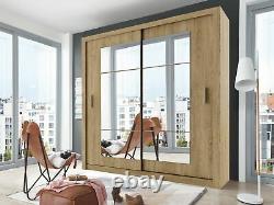 Sliding door mirror wardrobe CLEO 32 180cm colour shetland oak
