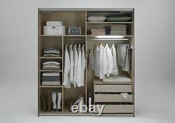 SlumberHaus German Ernie Large White & Mirror 2 Door Sliding Door Wardrobe