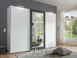 SlumberHaus'Minden' Large White & Steel Graphite Mirror 3 Door Sliding Wardrobe