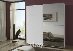 SlumberHaus Queen German 180cm Large Sliding 2 Door White & Mirror Wardrobe