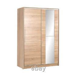 Sonoma Oak Mirrored Sliding Door Wardrobe Adore Furniture 120cm