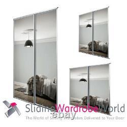 SpacePro Sliding Wardrobe Doors & Track White Framed MIRROR 3 Sizes