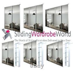 SpacePro WHITE Framed MIRROR Sliding Wardrobe Door Kits (All sizes)