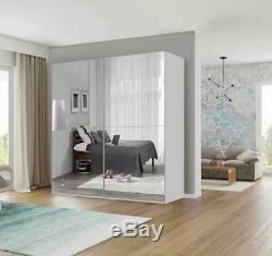 Texas Modern Bedroom Sliding door Wardrobe 6 Sizes 4 Colour With LED