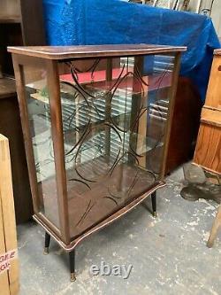 Vintage 1950's Atomic Mirrored Sliding Door Drinks Display Cabinet Dansette Legs