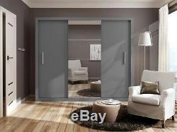 WARDROBE 250cm wide, 3 sliding doors, mirror BEDROOM FURNITURE DN-ID01 grey