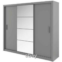 WARDROBE 250cm wide MIRROR 3 sliding door 2 hanging rails bedroom hallway DNID01