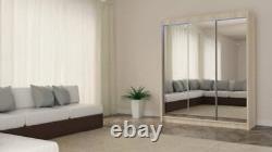 WARDROBE 3 sliding door FULL MIRROR bedroom furniture 180cm MRDE + LED FREE
