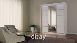 WARDROBE 3 sliding doors 2 drawers 5 colours bedroom furniture MIRROR MRMA 180cm