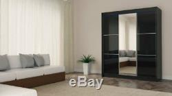 WARDROBE 3 sliding doors, FRONT WITH LACOBEL GLASS and MIRROR MRVILM180 FREE LED